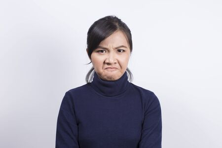 irate: Emotional Portrait: Angry woman Stock Photo