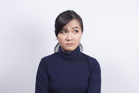 Emotional Portrait: Confuse woman Stockfoto