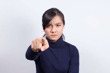 wrathful: Emotional Portrait: Angry woman Stock Photo
