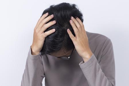 head ache: Man has head ache Stock Photo