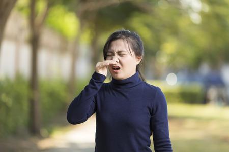 Health Care: Woman has sneezing Foto de archivo
