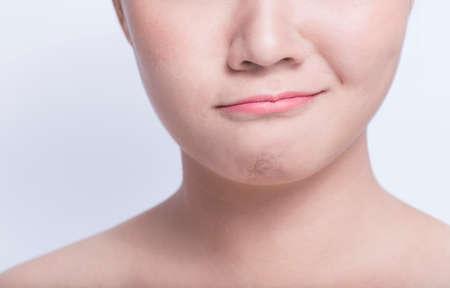 Beauty shots of asian girls emotion Stock Photo