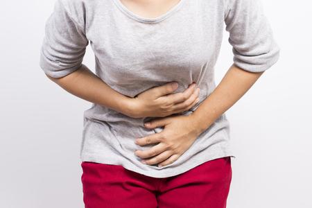 Woman has stomachache Stock Photo