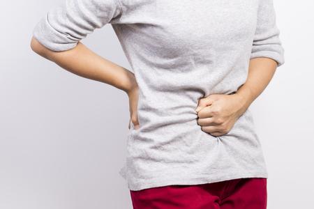 stomachache: Woman has stomachache Stock Photo