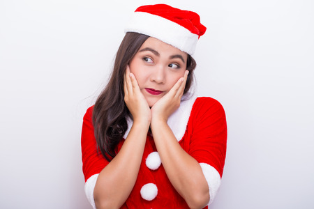suspect: Woman cosplay in santa costume and she suspect Stock Photo