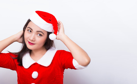 suspect: Woman cosplay in santa costume and she suspect when looking to copy space Stock Photo