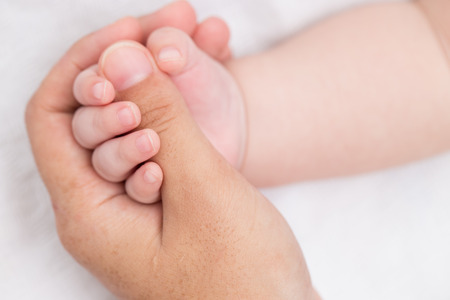 life giving birth: Concept of love holding hand Stock Photo