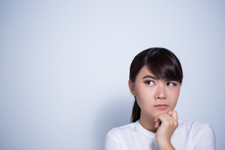 Woman has confuse Stock Photo