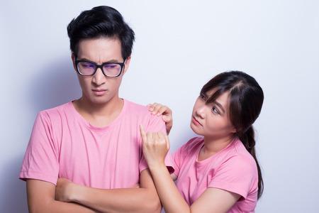 Man angry his girlfriend Stock Photo