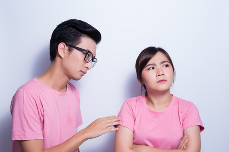 Woman angry her boyfriend Stock Photo
