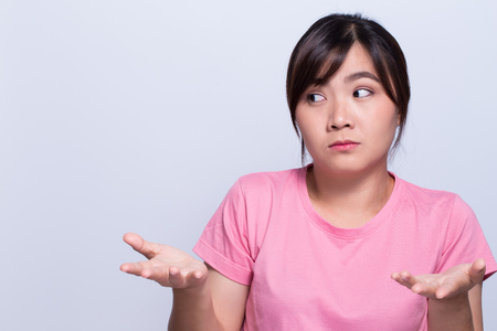 understand: Asian woman dont understand Stock Photo