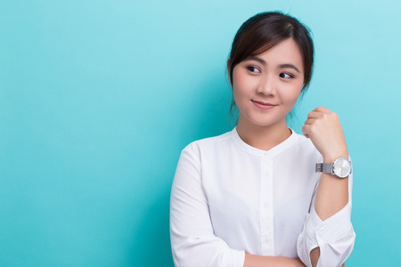 Asian woman with her watch