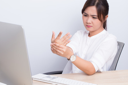 Woman has hand pain from work