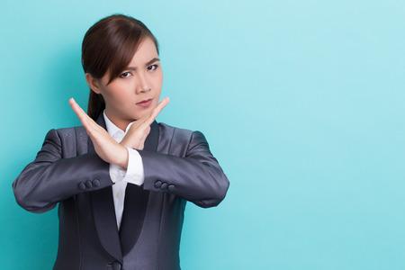 Business woman making stop symbol Stock Photo