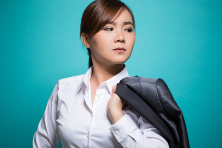 earnest: Earnest businesswoman on isolated background