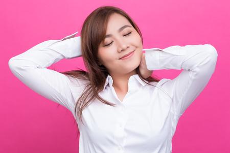 wellness sleepy: Asian woman wake up on isolated background