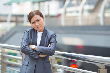 Businesswoman feel angry from work Stock Photo