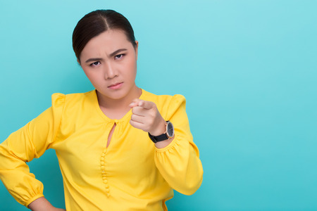 Angry woman on isolated background