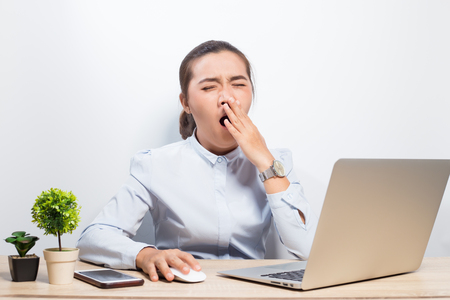 Woman sleepy at office