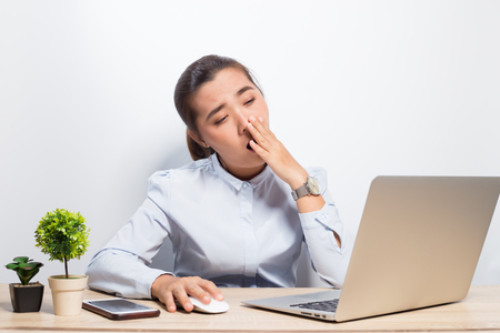 Woman sleepy at office