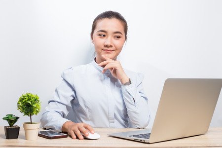 Happy woman at office