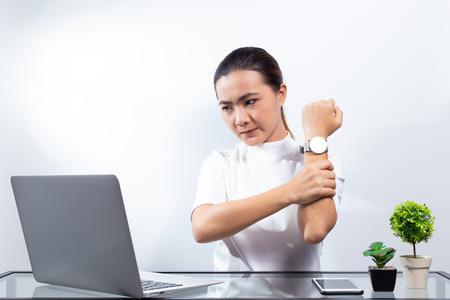 Woman has shoulder pain Stock Photo