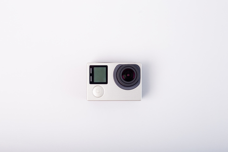 Action camera isolated on white background 版權商用圖片