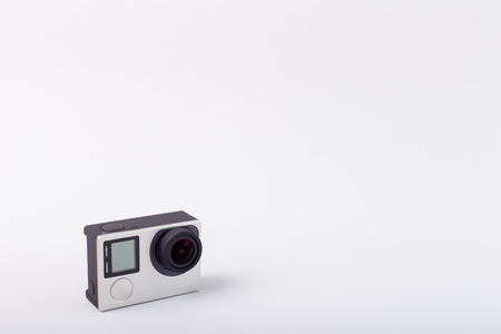 Action camera isolated on white background Banco de Imagens