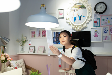 Woman shopping and choose the decorative for dining room