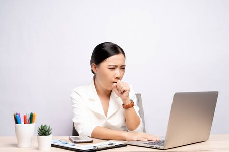 Woman has sore throat at office isolated white background