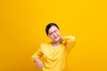 Woman has body pain isolated over background