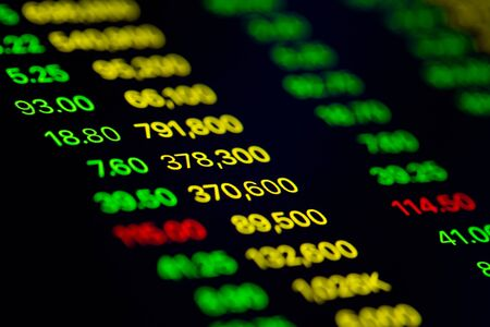 Close up shot on digital screen data value of stock market change and volatility prices profit or loss Foto de archivo