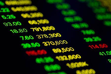 Nahaufnahme auf digitalem Bildschirmdatenwert von Börsenänderungen und Volatilitätspreisen, Gewinn oder Verlust Standard-Bild