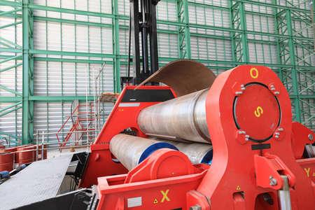 Roll steel machine red color in workshop