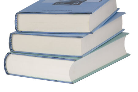 textbooks: blue textbooks on a white background