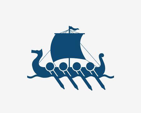 Vikings Ship in Nordic Sea. Wooden Warships of Scandinavian Ancient Warriors. Vector Illustration of boat .