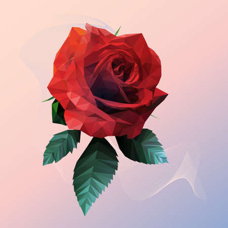 Romantic Red Rose Lowpoly Style on Pink Blue Background