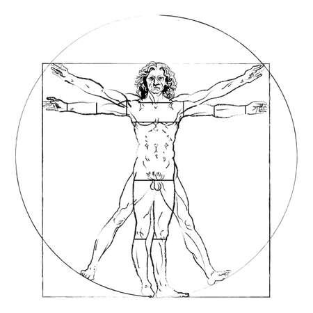 uomo vitruviano: L'uomo vitruviano. Leonardo da Vinci 's disegno su bianco, anatomia umana Vettoriali