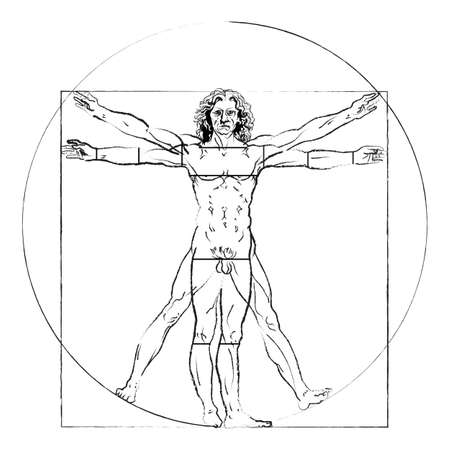 The Vitruvian man. Leonardo da Vinci s Drawing on white, human anatomy