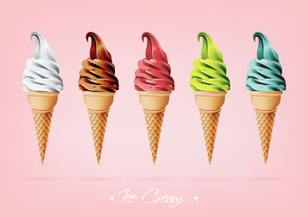 twisted: Colorful Ice cream in the cone, Different flavors Illustration