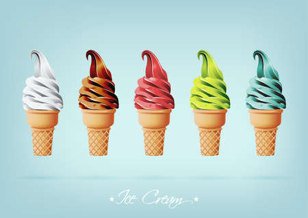 Colorful Ice cream in the cone, Different flavors Ilustração