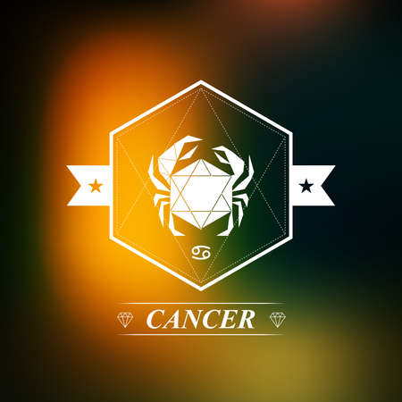 cancer zodiac: Cancer Zodiac sign, Horoscope, tattoo, vintage badge Illustration