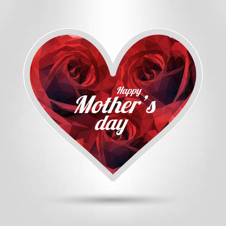 Happy Mothers Day. Festive Holiday Illustration With Lettering And red Rose Heart, Vector