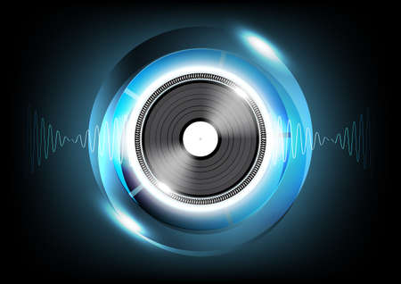 speed of sound: Vinyl and Sound wave Abstract Futuristic Technology Background, Vector