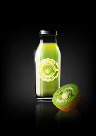 design: Green Kiwi juice in a glass bottle for design advertisement and vintage logo, fruit, transparent, Vector