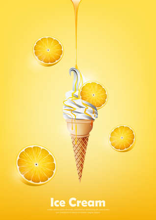 Ice cream in the cone, Pour lemon syrup and a lot of lemon background, transparent Vector