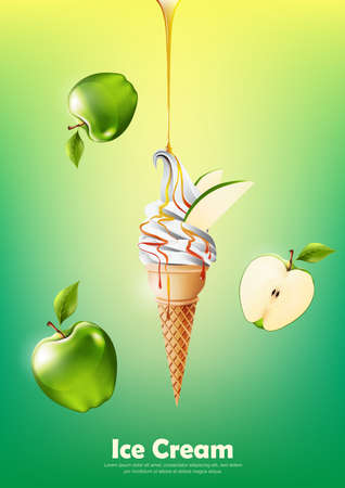 Ice cream in the cone, Pour green apple syrup and a lot of green apple pattern, transparent Vector