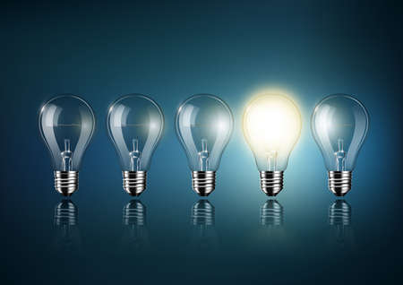 Glowing light bulb is among a lot of turned off light bulbs on dark blue background, concept idea, Transparent Vector. Illustration