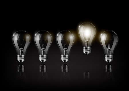 Glowing light bulb is among a lot of turned off light bulbs on black background, concept idea, Transparent Vector.