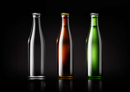 Transparent glass bottle, brown bottle and green bottle for design package and advertisement, beer and beverage.